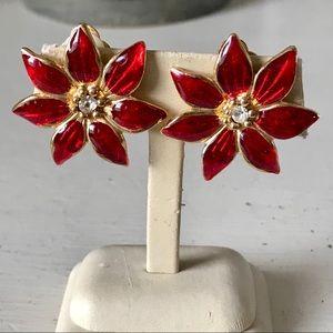 Vintage Poinsettia Christmas Red Enamel Earrings